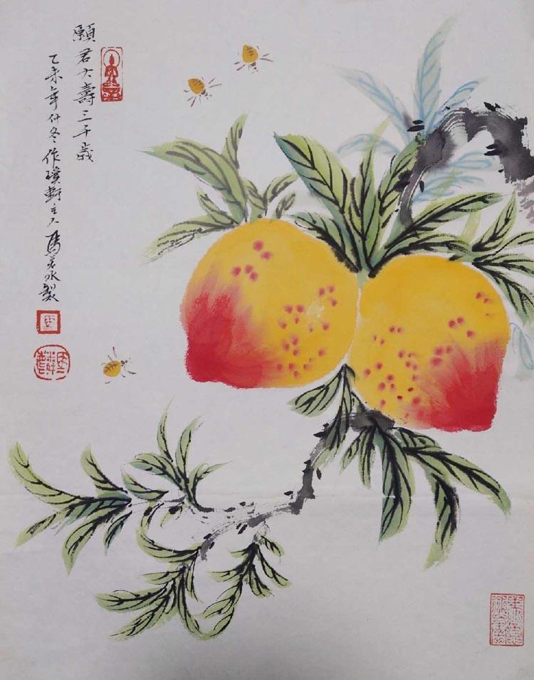 天津十佳青年美术家、天津美术家协会会员【马若水 双寿图】